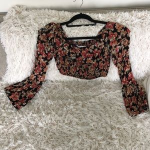 Urban outfitters off shoulder floral crop top